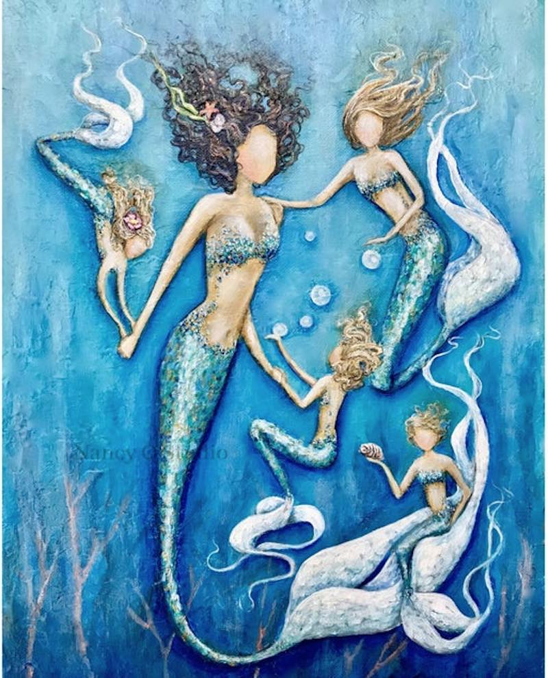 Mother and Daughters Mermaid print