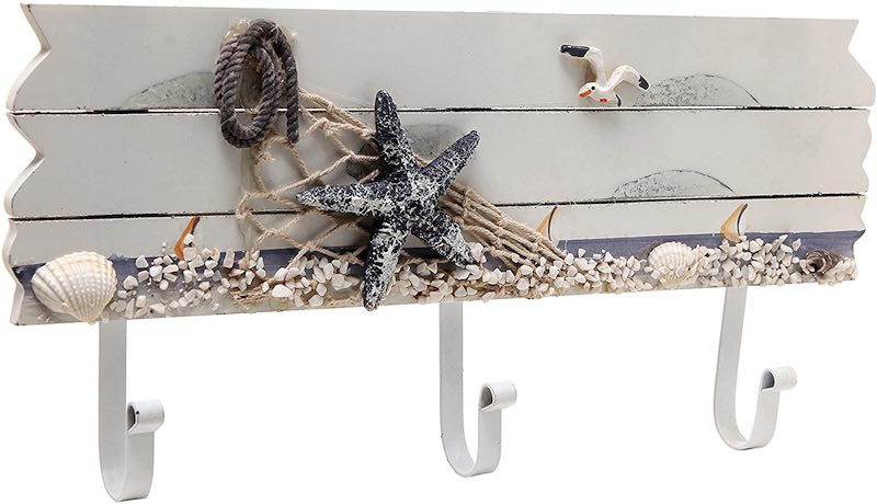 Sandy Beach Starfish, Seagull & Seashells Coat Hook