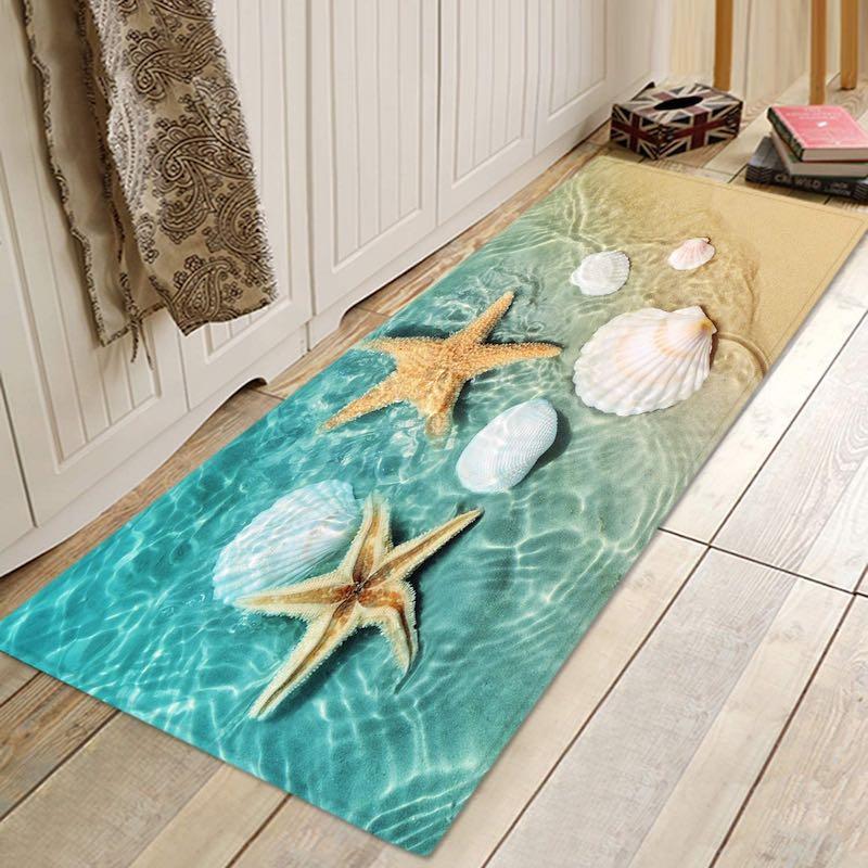 Beach Starfish Scallop Print Memory Foam Bath Rug