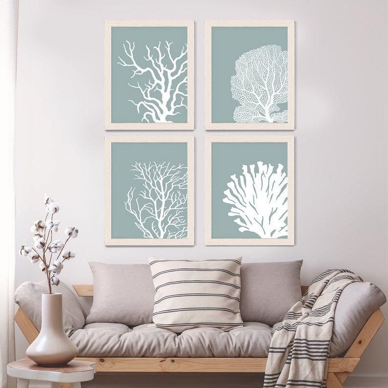 Teal Coral Print Set
