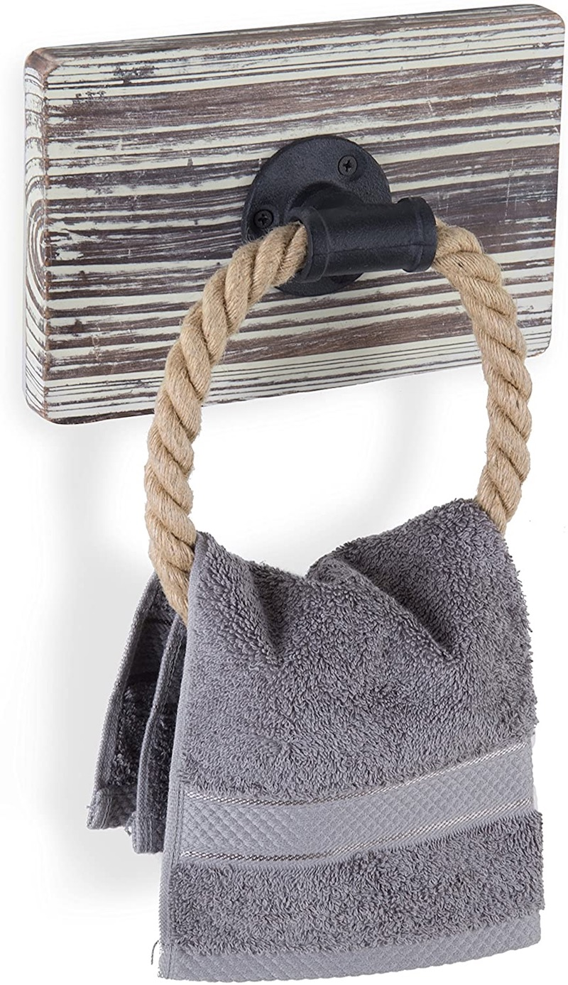 Torched Wood & Rope Towel Ring