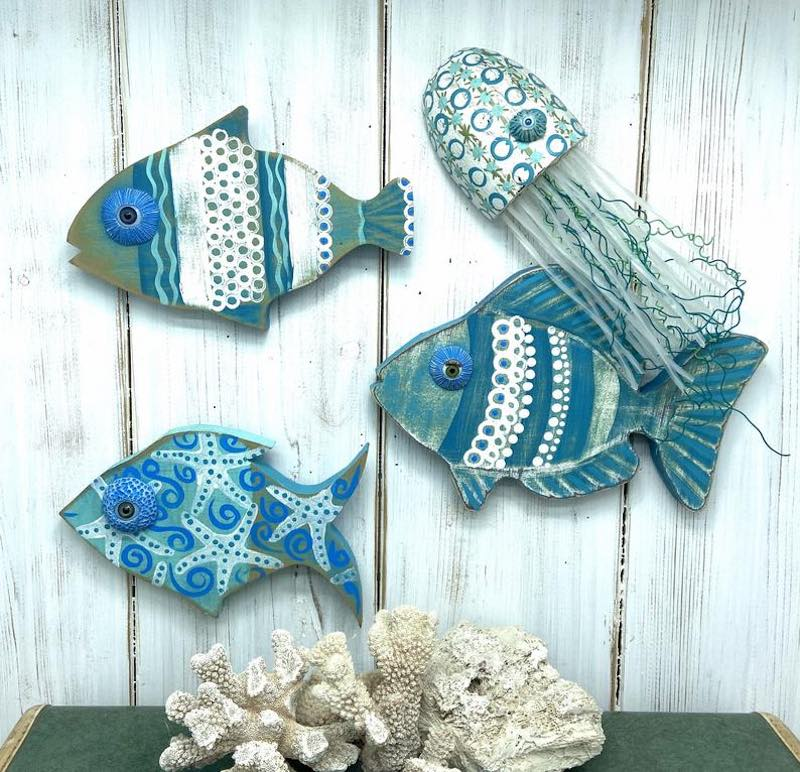 Small Tropical Fish Wooden Wall Decor