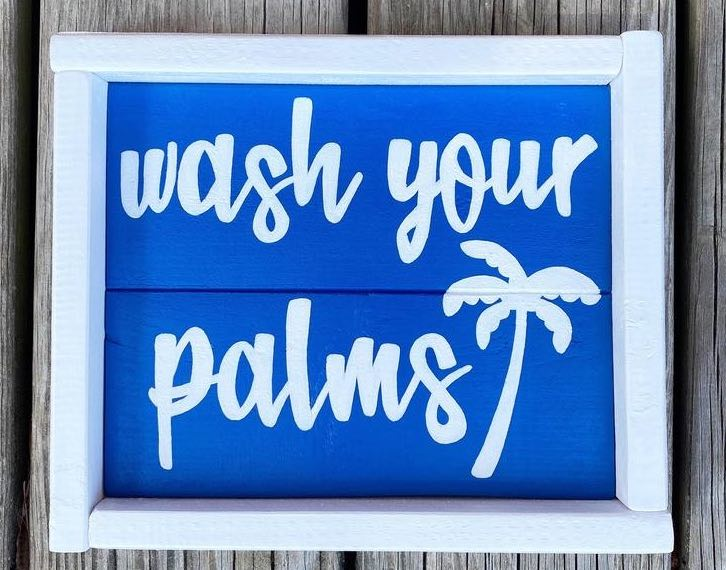 """Wash Your Palms"" Beach House Sign"