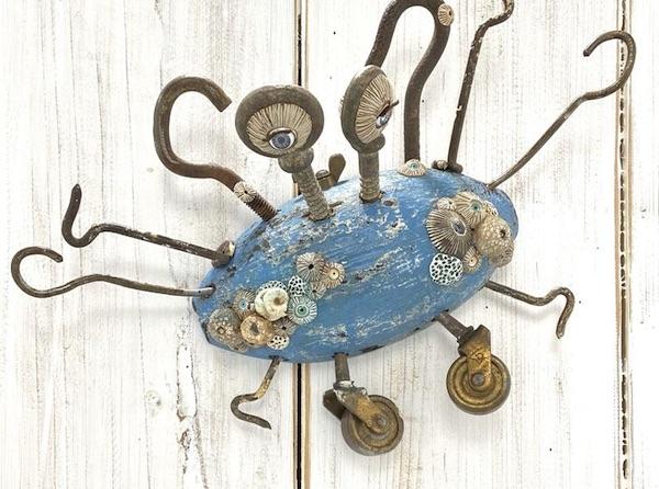 Blue Crab Wooden Folk Art