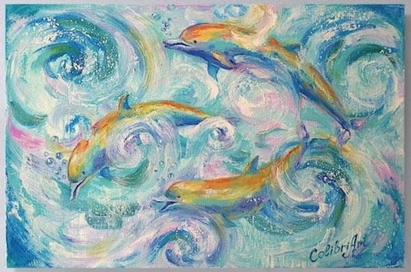 Dolphin Art: Rainbow Dolphins