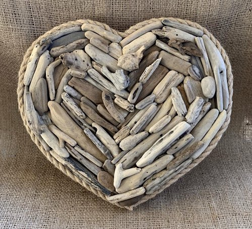 artists: Kim and Tom - driftwood heart