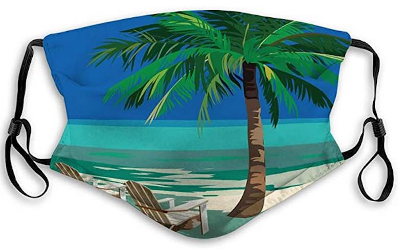 Beach Lounge Chairs Under Tropical Skies Face Mask