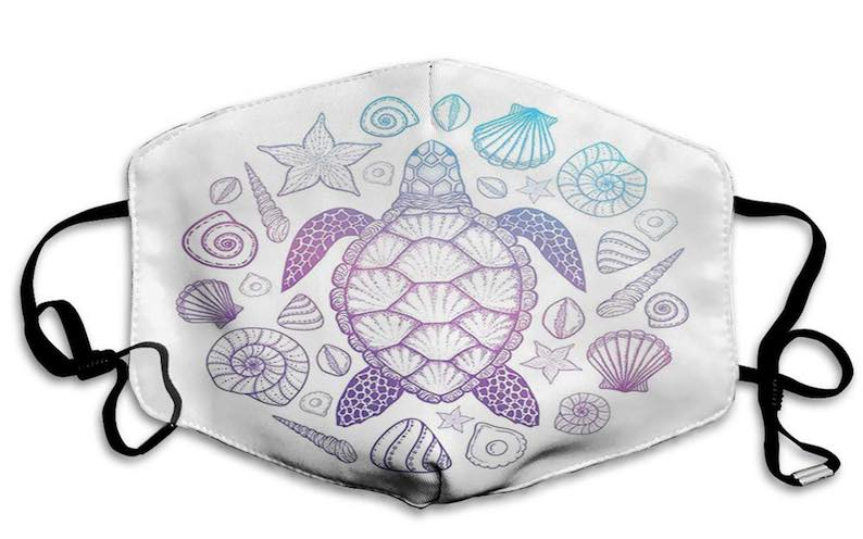 Ombre Sea Turtle and Seashell Face Mask