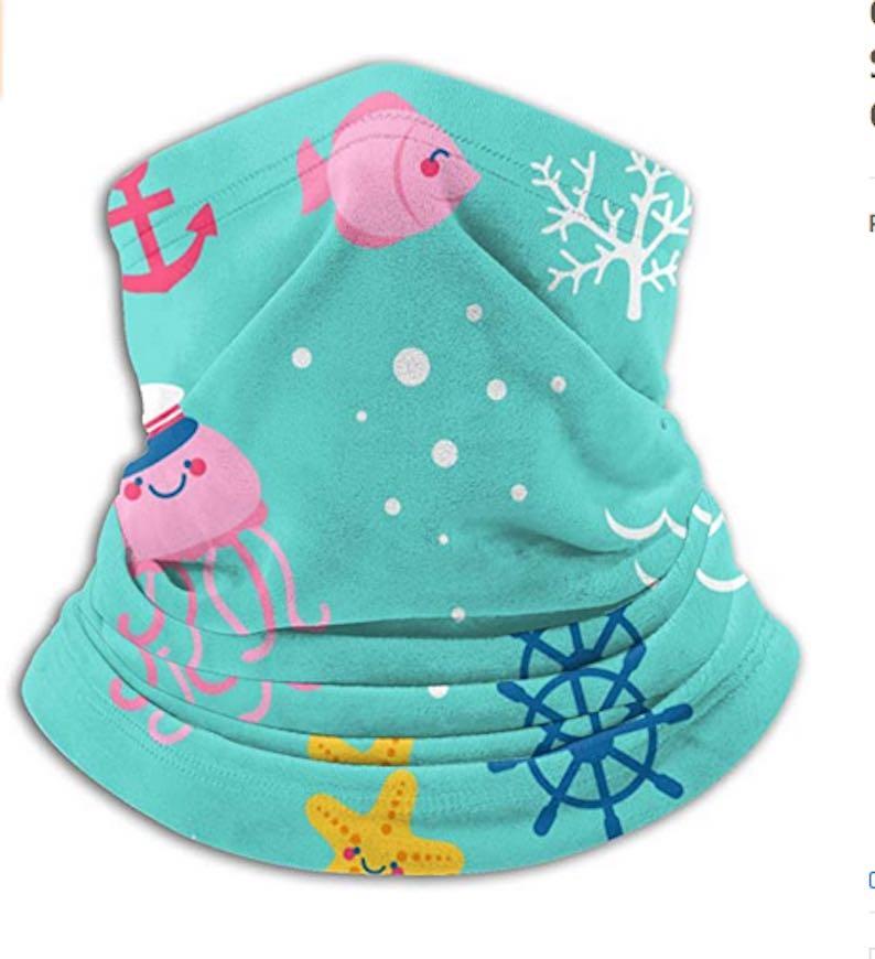 Pink Fishes & Octopi Kids' Neck Gaiter