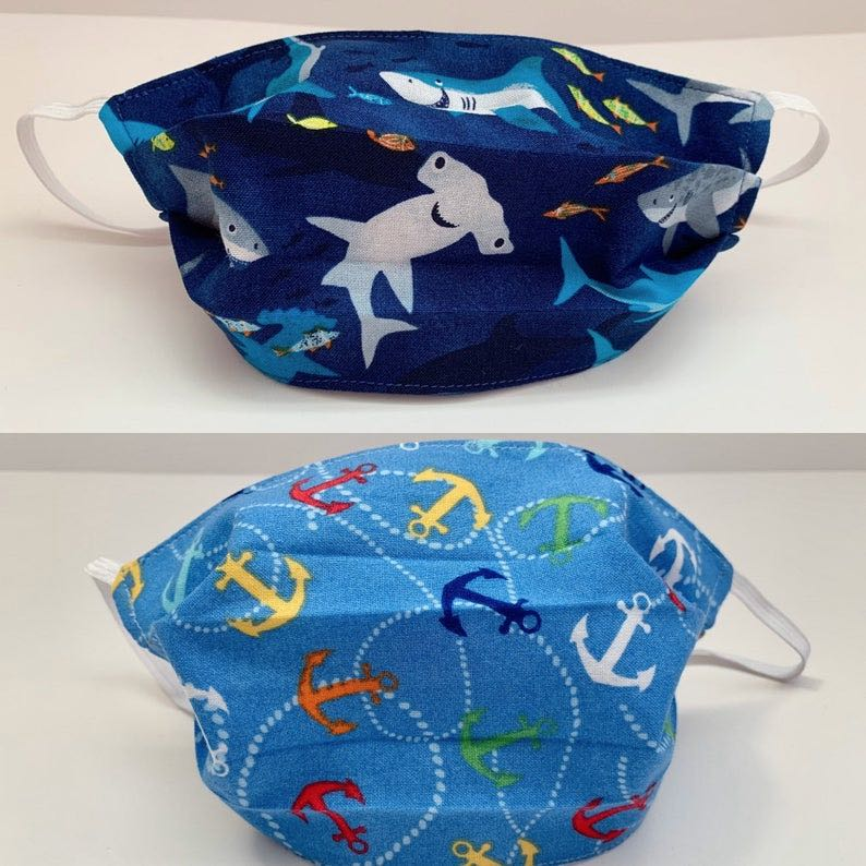 Kids' Shark and Anchor Face Mask