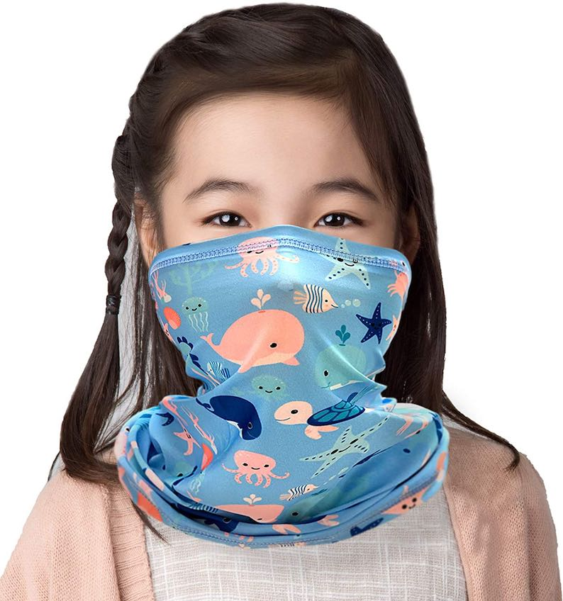 Whales & Turtles Kids' Tube Neck Face Mask