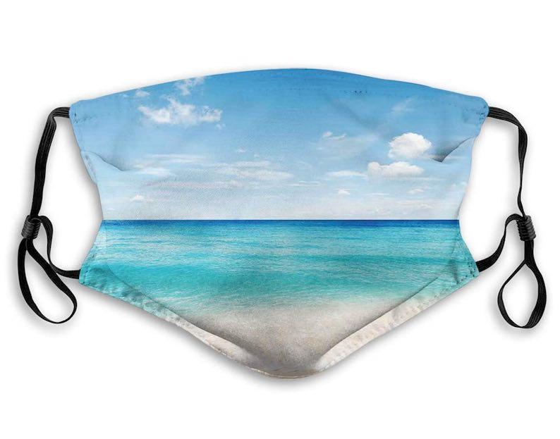 Tropical Carribean Sea Shore Face Mask