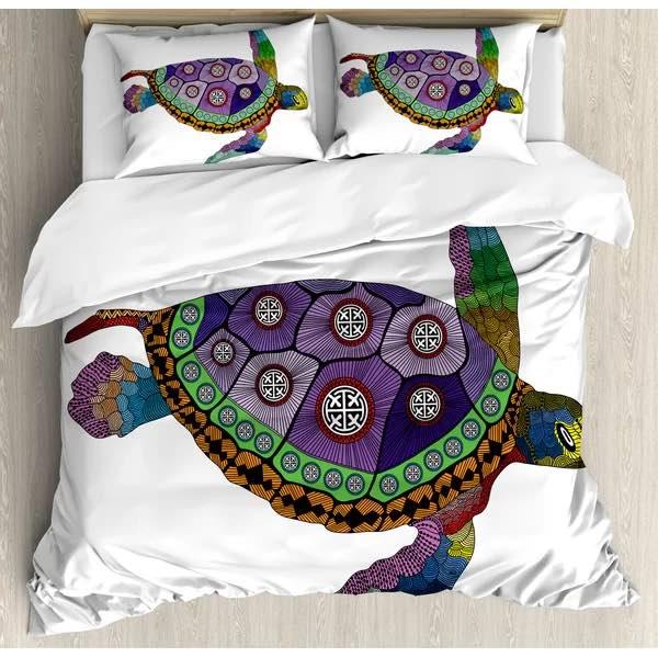 Psychedelic Sea Turtle Duvet Cover Set