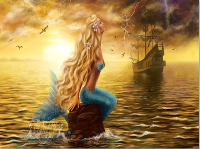 Mermaid with Ghost Ship