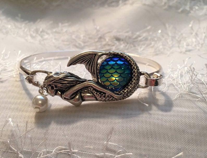 Mermaid Bracelet With Blue Glass