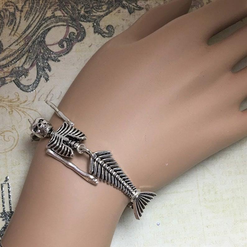 Silver Mermaid Skeleton Bracelet