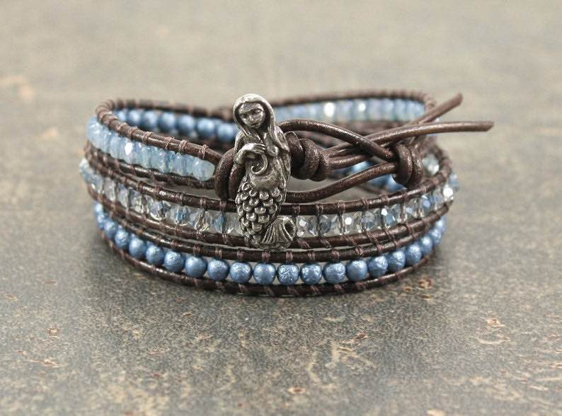 Blue Beaded Leather Mermaid Bracelet