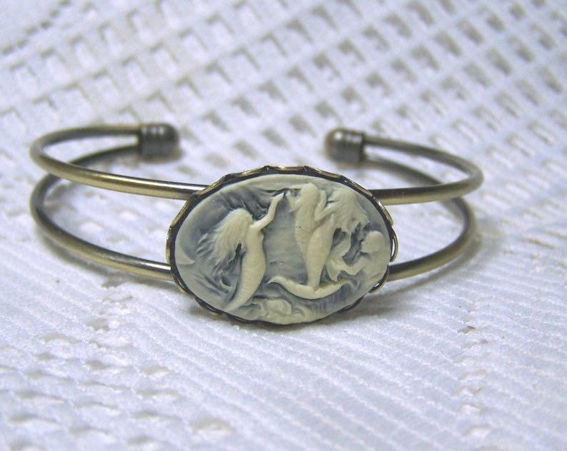 Antiqued Gold Cuff Mermaid Cameo Bracelet