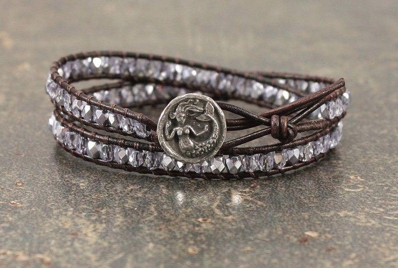 Beaded Leather Mermaid Bracelet