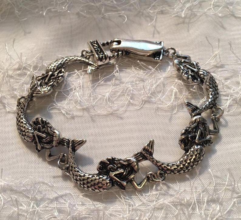 Antiqued Sterling Silver Mermaid Bracelet