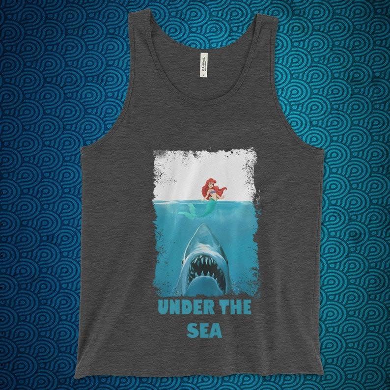 Little Mermaid vs Jaws Tank Top