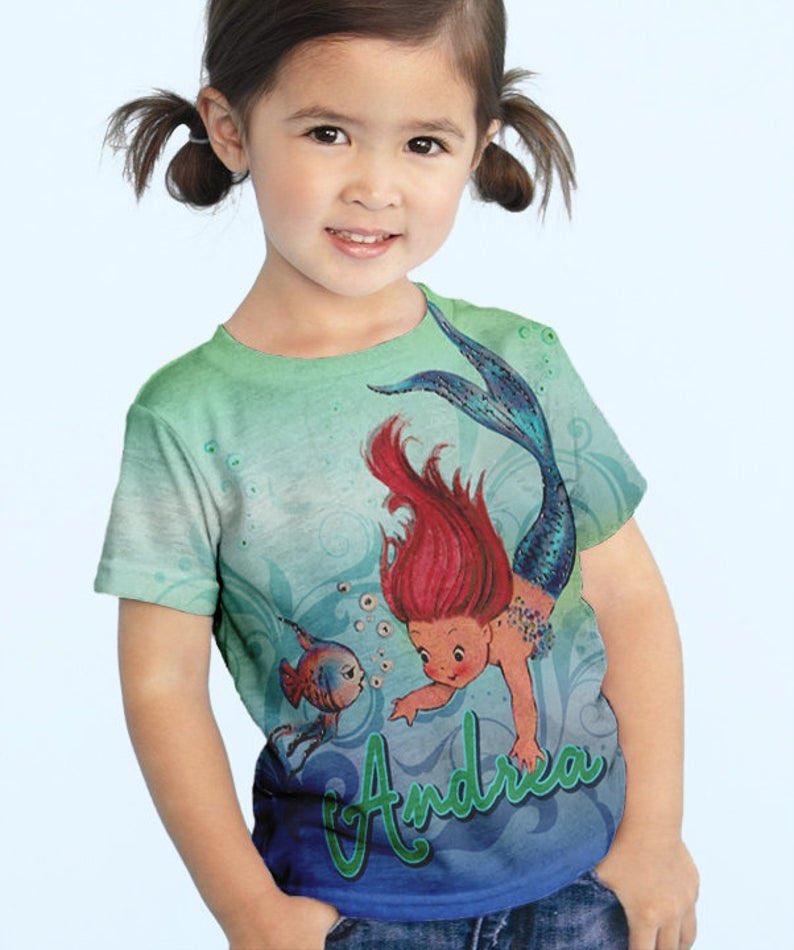 Personalized Girls Mermaid T-Shirt