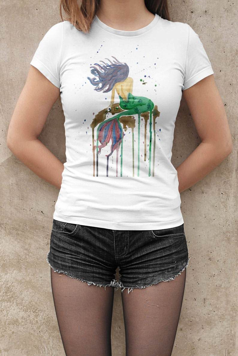 Watercolour Mermaid T-Shirt