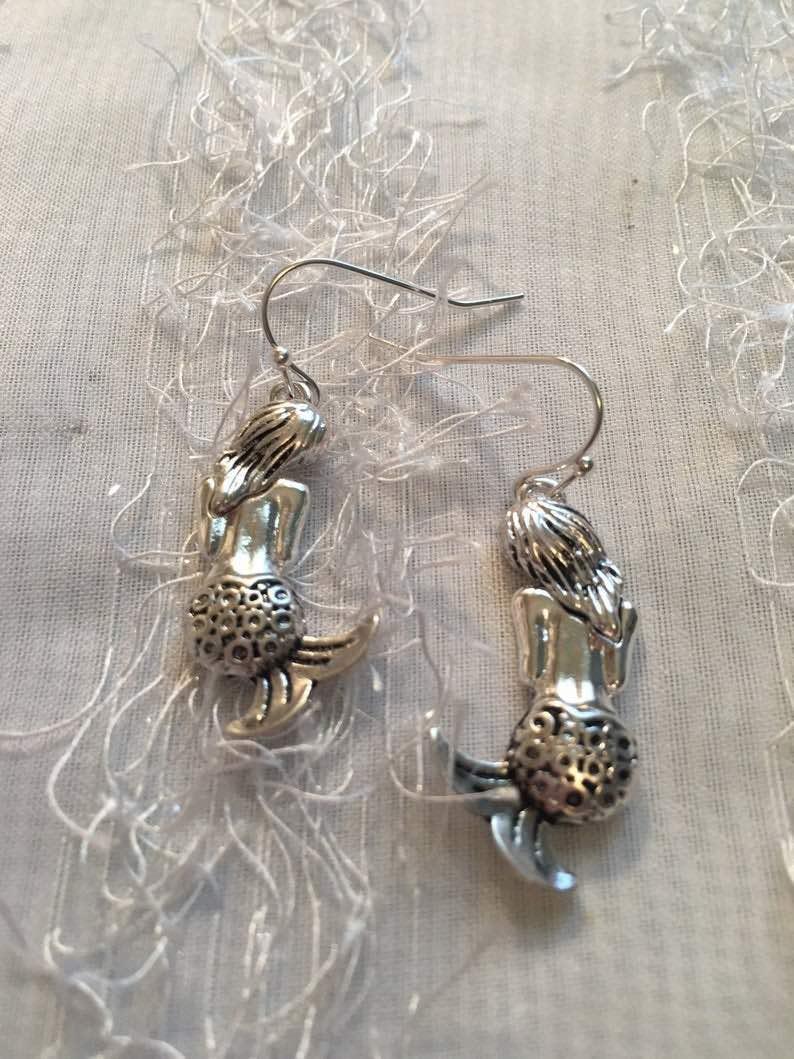 Mermaid Earrings Made Of Sterling Silver