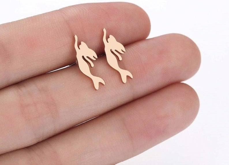 Mermaid Stud Earrings in Rose Gold or Silver