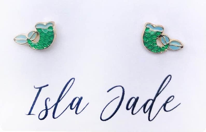 Mermaid Tail Stud Earrings 14K Gold Plated