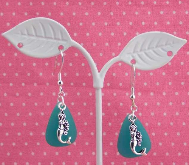 Mermaid and Sea Glass Earrings