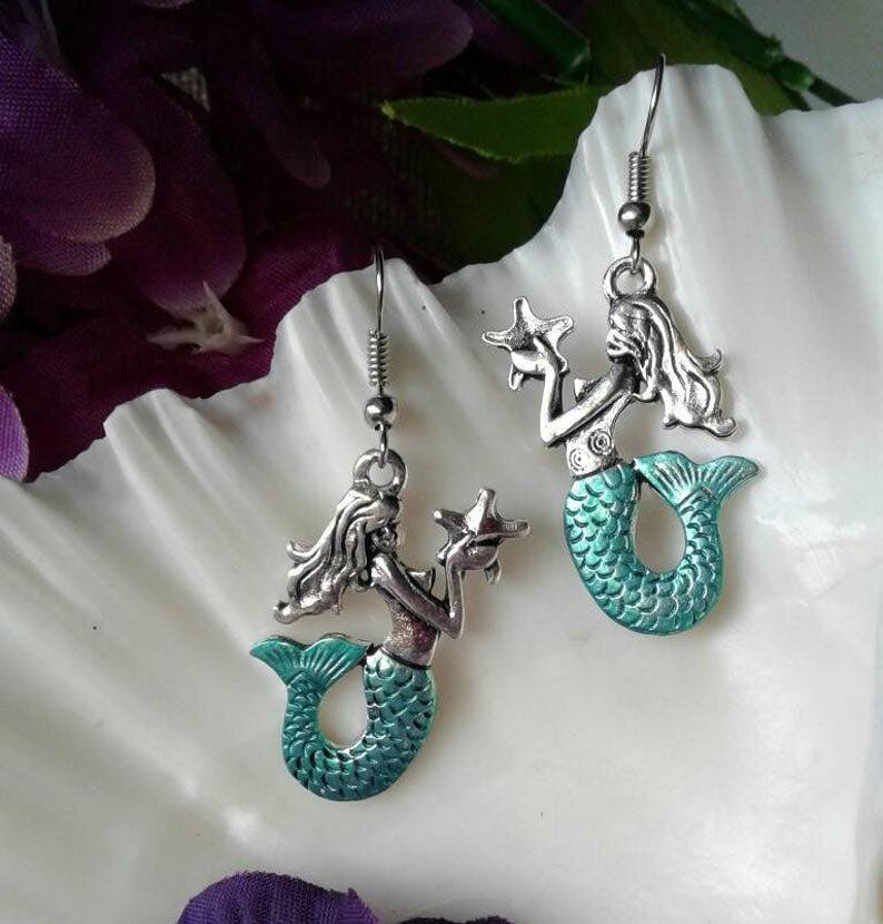 Silver & Teal Mermaid Earrings