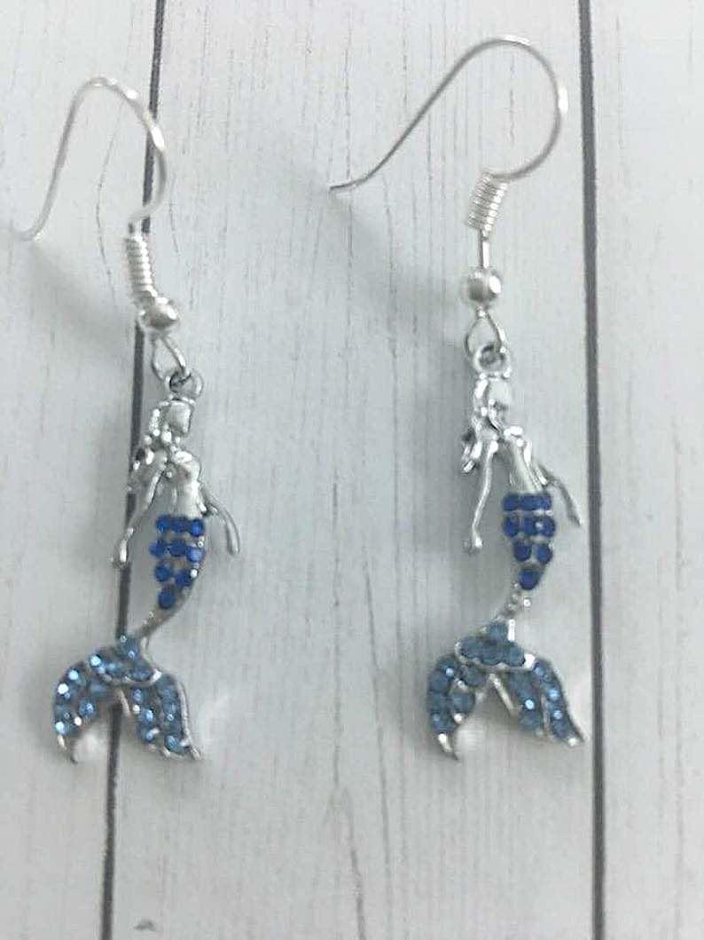 Dainty Mermaid Dangle Earrings