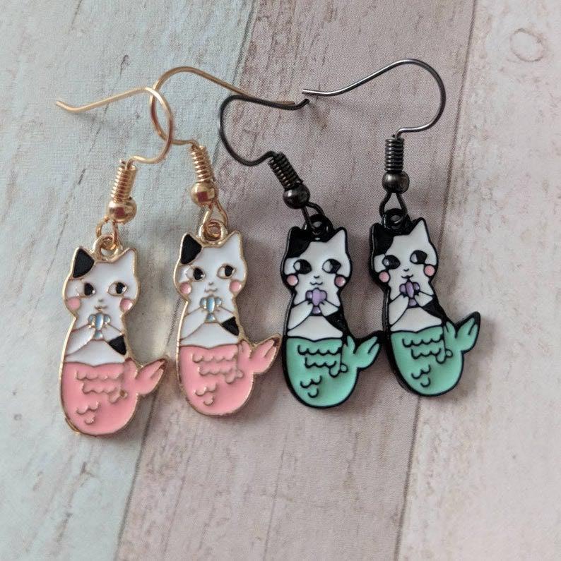Cat Mermaid Earrings