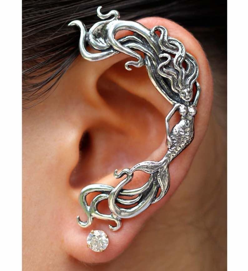 Silver Mermaid Ear Cuff