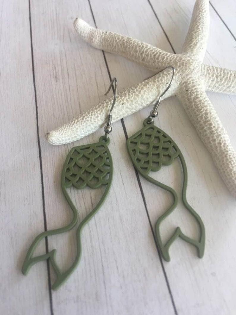 Mermaid Tail Hollow Earrings