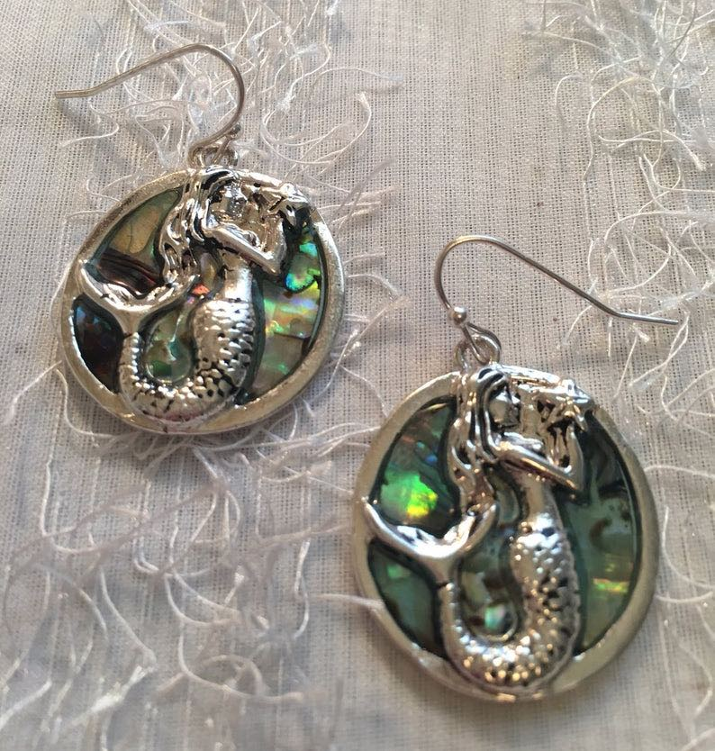 Sterling Silver Mermaid Earrings With Green Abalone Stones