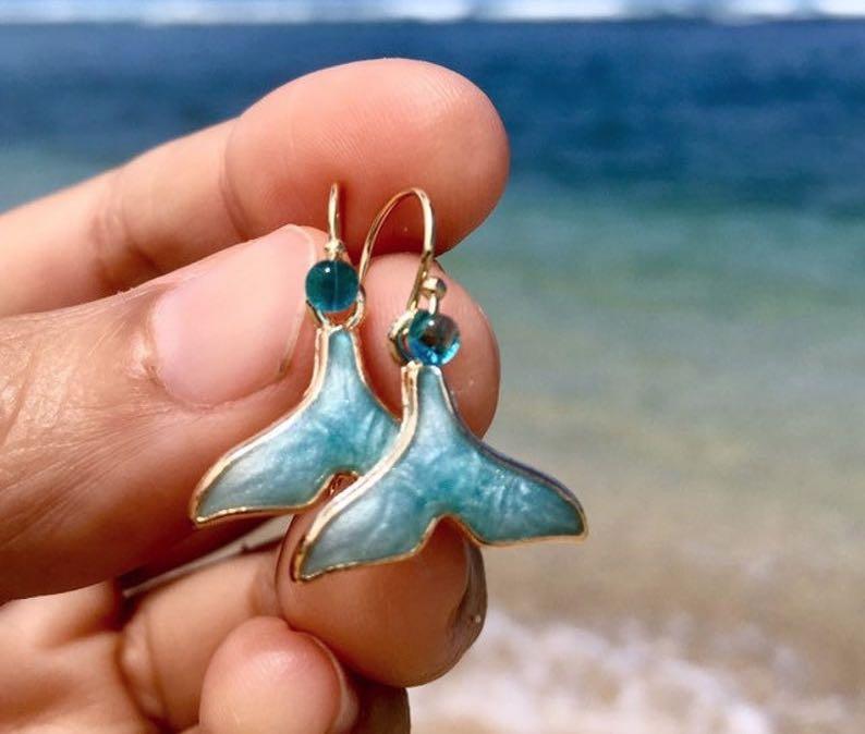 Aqua Blue Mermaid Tail Earrings