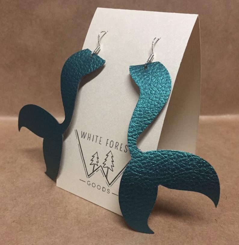Lightweight Faux Leather Mermaid Statement Earring