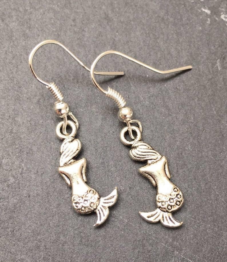 Dangly Mermaid Charm Earrings
