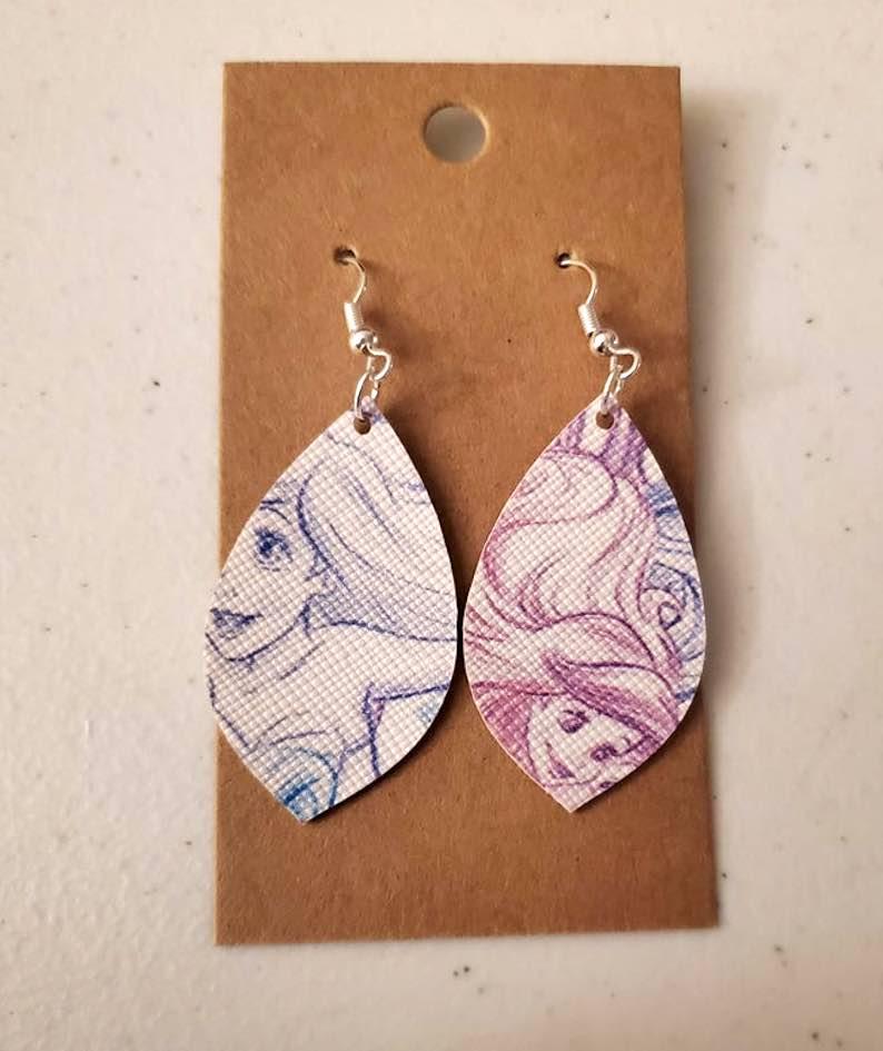 Little Mermaid Inspired Faux Leather Earrings