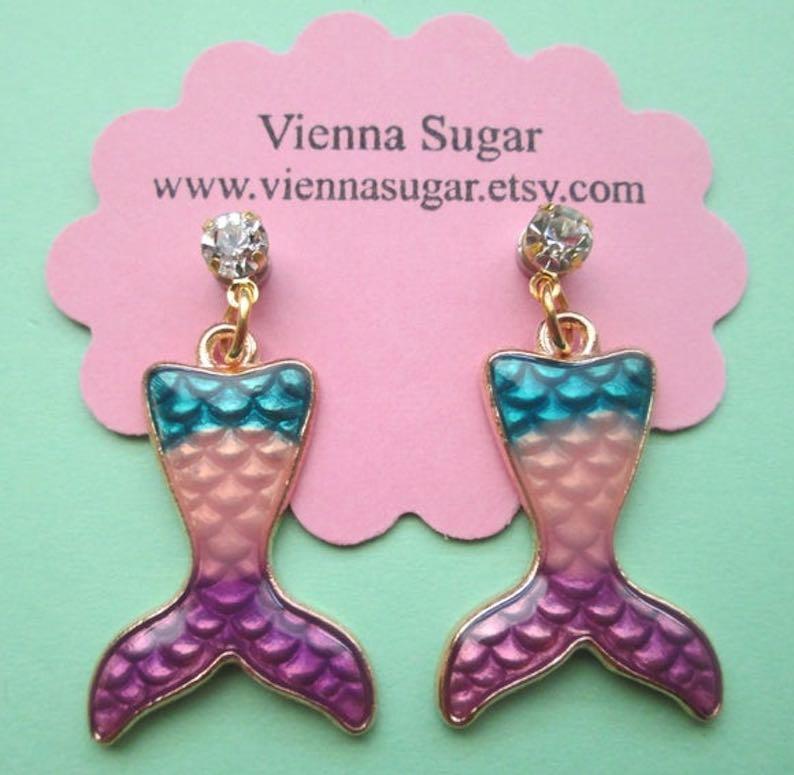 Mermaid Tail Magnetic Dangle Clip On Earrings