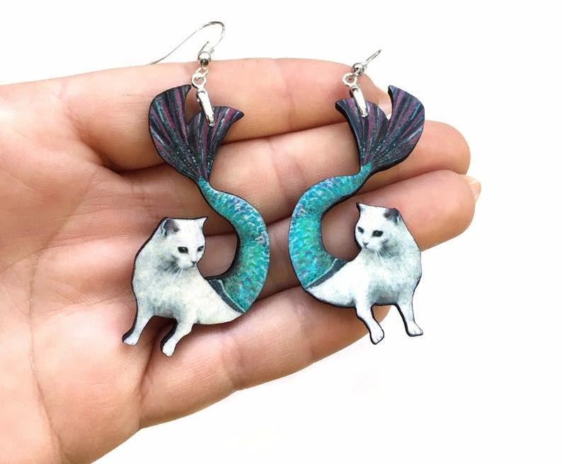 Mermaid Cat Earrings