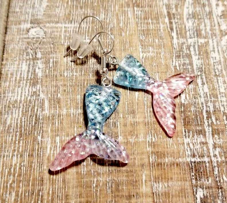 Pink and Blue Mermaid Earrings