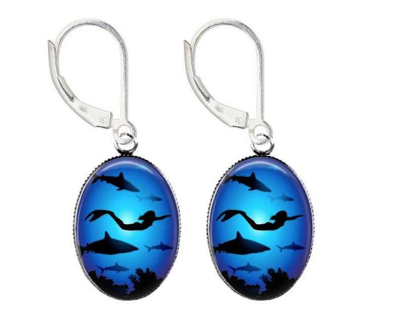 Mermaid Swimming with Sharks Earrings