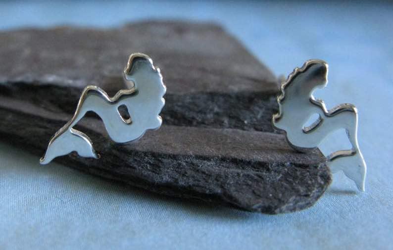 Mermaid Stud Earrings Handmade in Sterling Silver or 14k Gold
