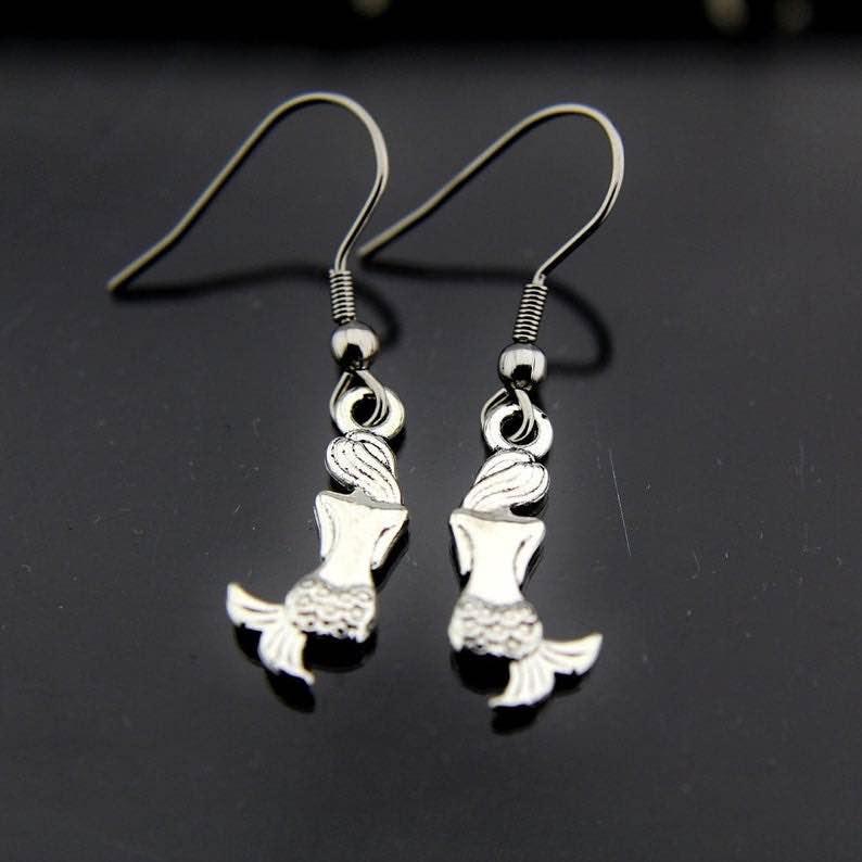 Silver Mermaid Charm Dangle Earrings