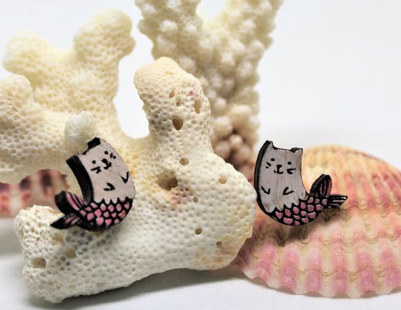 Wooden Mermcat Earrings