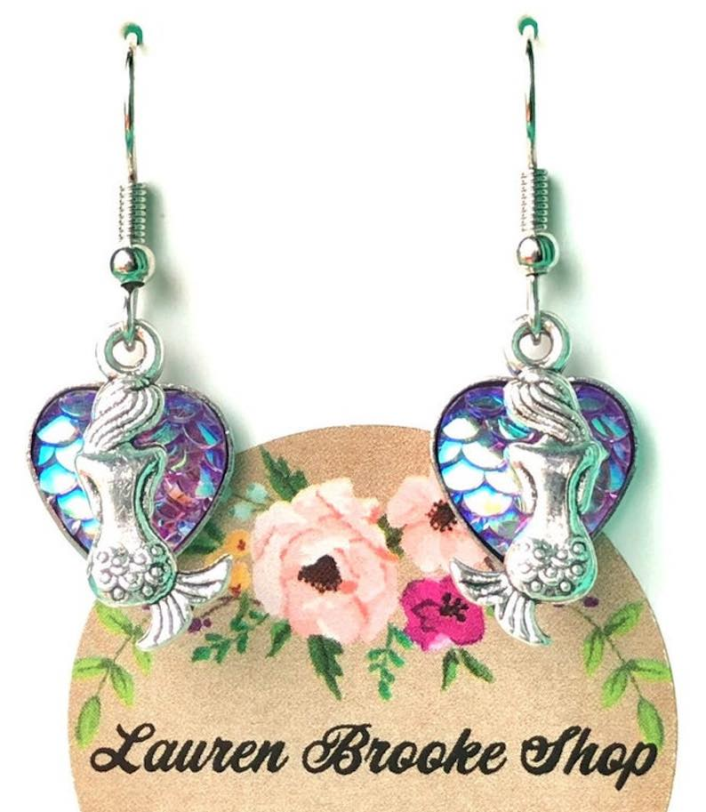 Druzy Heart Mermaid Earrings