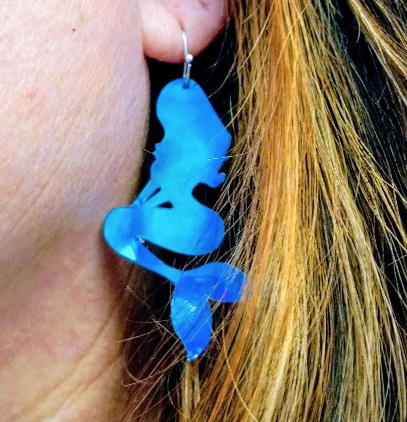 Blue Green Holographic Mermaid Earrings